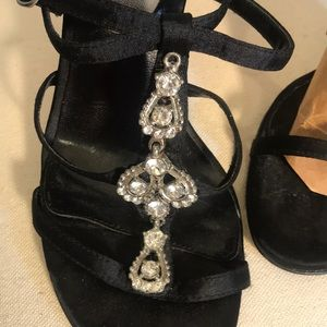 Cathy Jean strappy heels with rhinestones